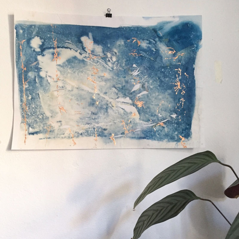 large cyanotype abstract art with copper leaf