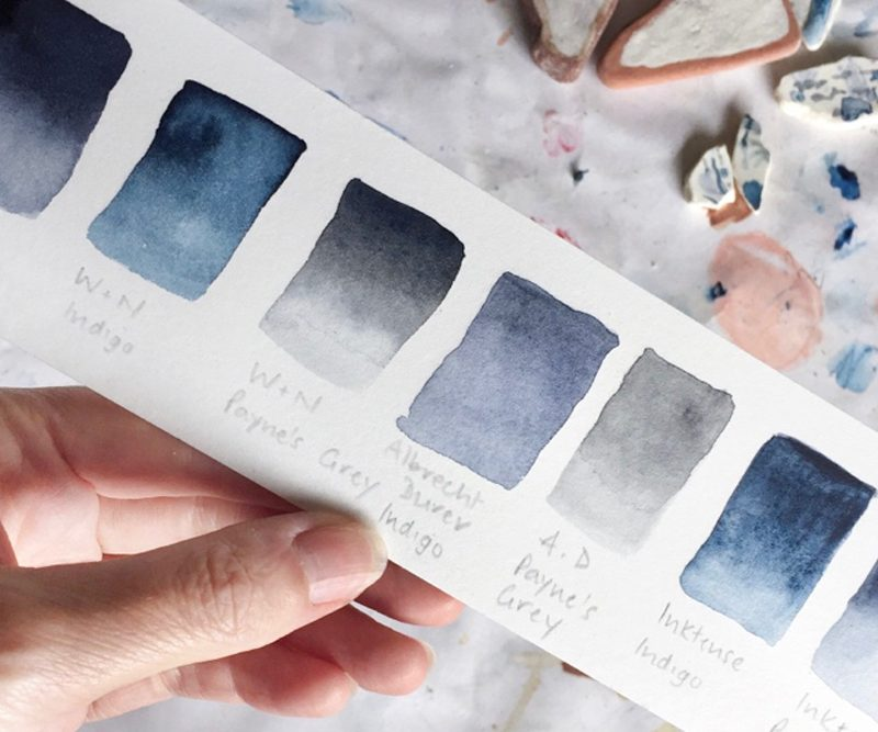 handpainted swatches shades of blue